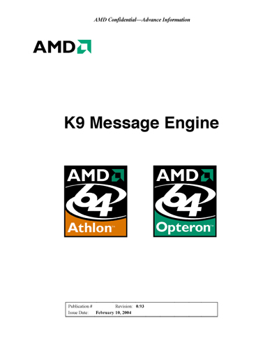 AMD K9 Message Engine Architecture