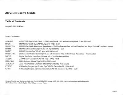 AT&T Bell Labs ADVICE Documentation Specification