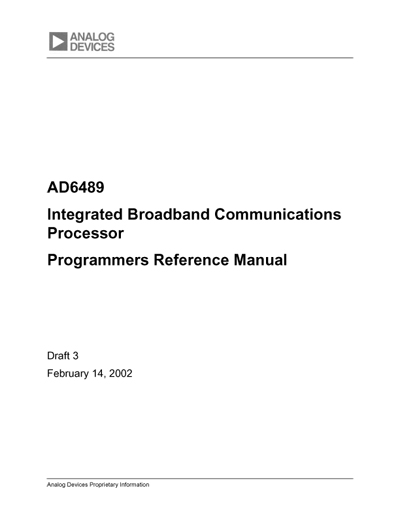 Analog Devices AD6489 Integrated Broadband Communications Processor Programmers Reference Manual
