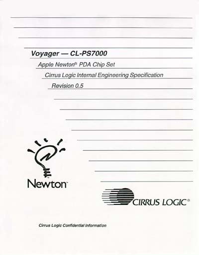 Cirrus Logic Voyager CL-PS7000 Apple Newton PCA Chip Set Engineering Specification