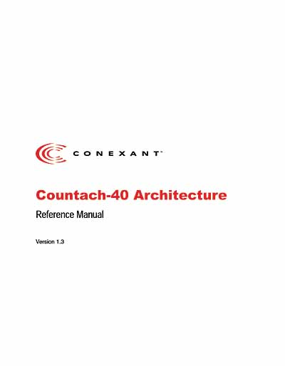 Conexant Countach-40 DSP Architecture Reference Manual