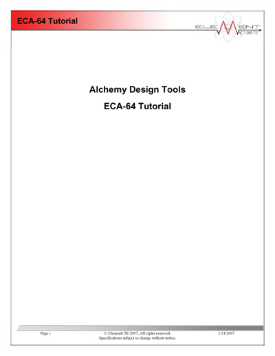 ElementCXI Alchemy Design Tools ECA-64 Tutorial