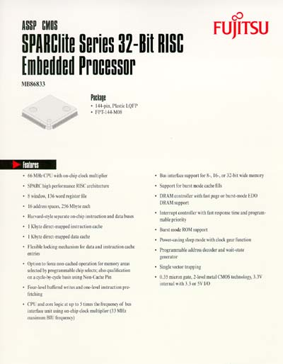 Fujitsu SPARClite MB86833 Embedded Processor Data Sheet