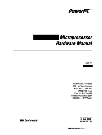IBM PowerPC 615 Microprocessor Hardware Manual