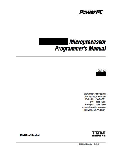 IBM PowerPC 615 Processor Programmer's Manual