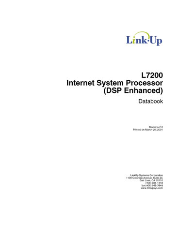 LinkUp L7200 Internet System Processor (DSP Enhanced) Databook