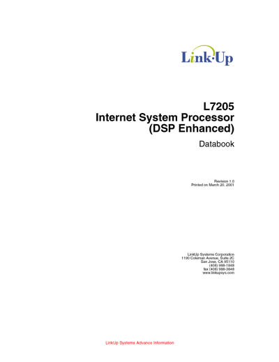 LinkUp L7205 Internet System Processor (DSP Enhanced) Databook
