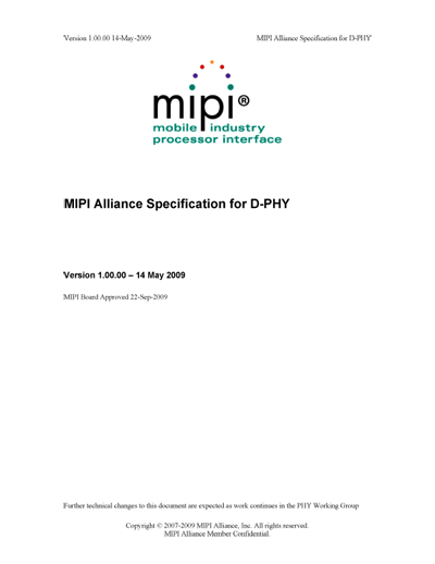 MIPI Alliance Specification for D-PHY