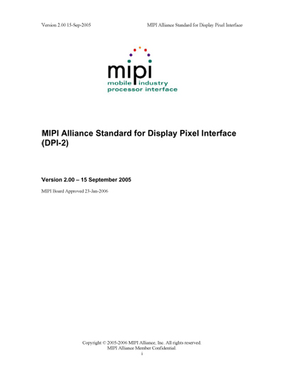 MIPI Alliance Standard for Display Pixel Interface (DPI-2)