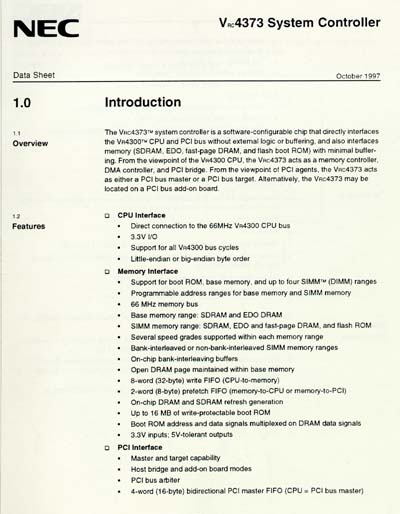 NEC VRC4373 MIPS System Controller Data Sheet