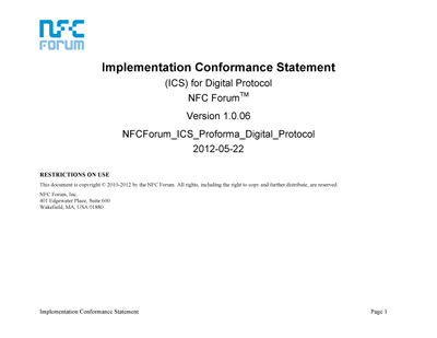 NFC Forum ICS Proforma Digital Protocol