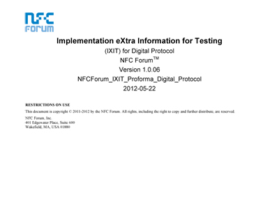 NFC Forum Implementation eXtra Information for Testing (IXIT) for Digital Protocol