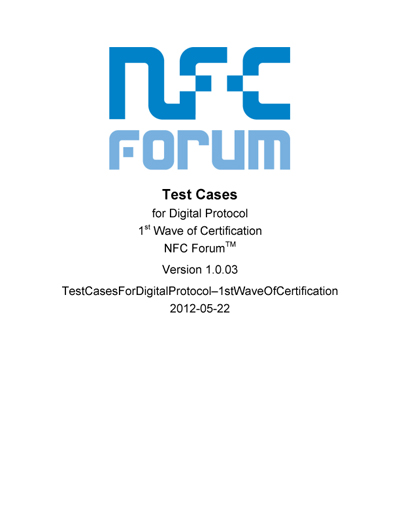NFC Forum Test Cases for Digital Protocol