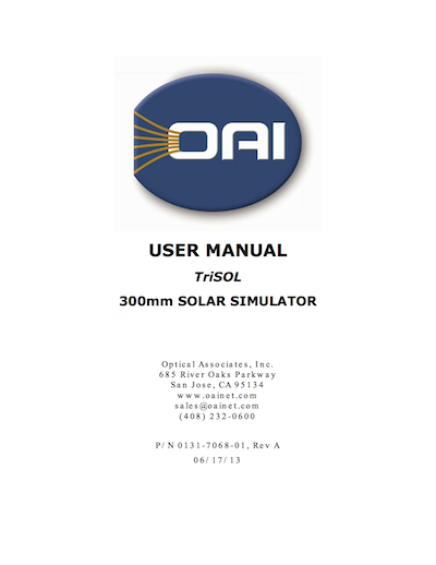 OAI TriSOL 300mm Solar Simulator User Manual