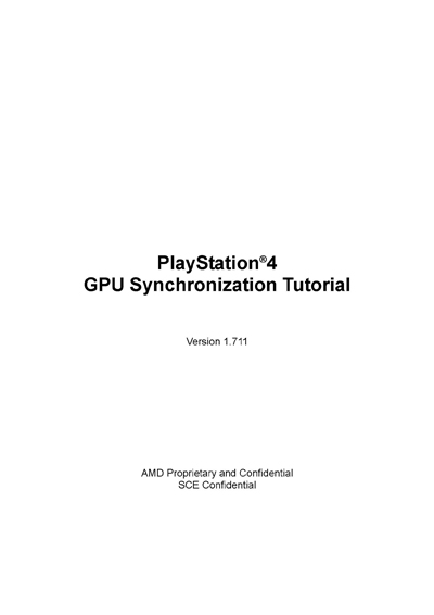 Sony PlayStation 4 GPU Synchronization Tutorial