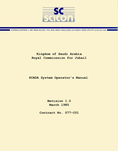 Saudi Consolidated Electric SICON SCADA System Operator's Manual