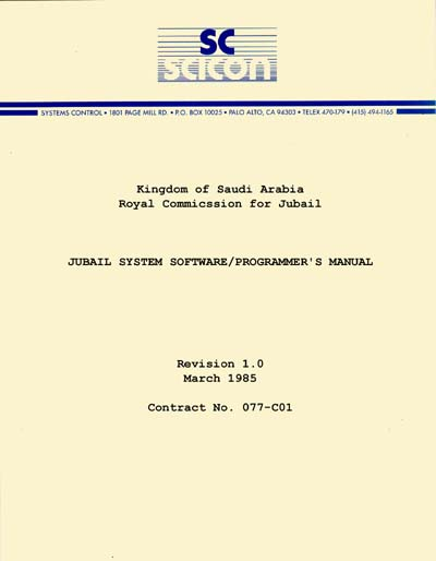Saudi Consolidated Electric SICON Jubail System Software/Programmer's Manual