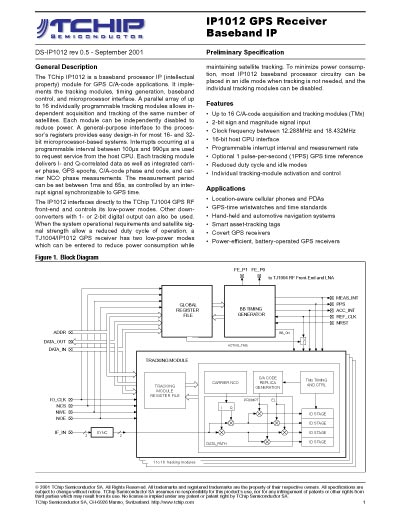 TChip IP1012 Global Positioning System (GPS) Receiver Baseband Intellectual Property (IP) Data Sheet