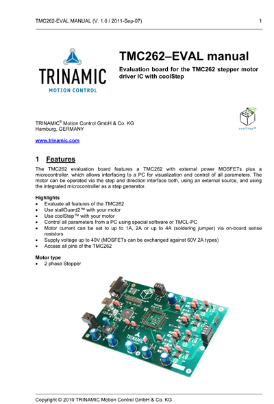 Trinamic TMC262 Evaluation Manual