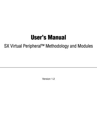 Ubicom SX Virtual Peripheral Methodology and Modules User's Manual
