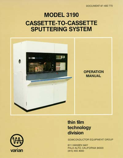 Varian 3190 Cassette-to-Cassette Sputtering System Operation Manual