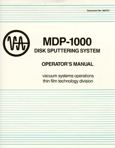 Varian MDP-1000 Disk Sputtering System Operator's Manual