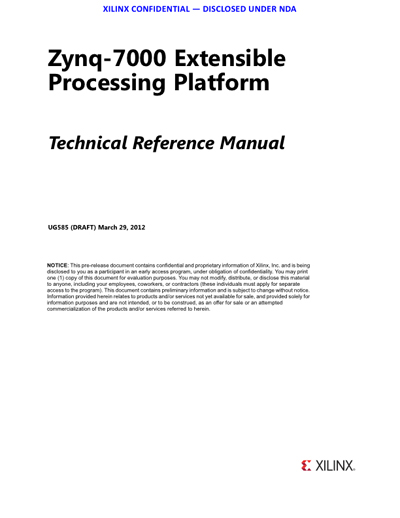 Xilinx Zynq-7000 Extensible Processing Platform (EPP) Reference Manaul