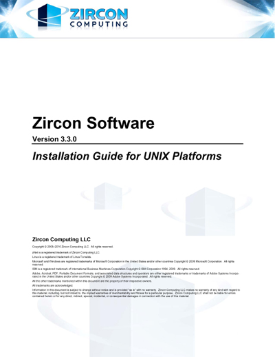 Zircon Software Installation Guide for Linux