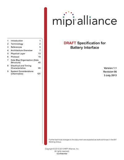 MIPI Alliance Specification for Battery Interface (BIF)