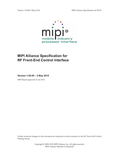 MIPI Alliance Specification for RF Front-End Control Interface
