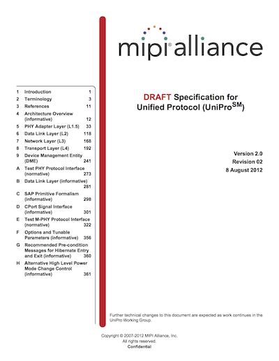 MIPI Alliance Specification for Unified Protocol (UniPro) v2.0