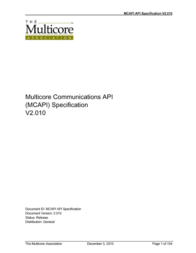 Multicore Association  Multicore Communications API (MCAPI) Specification